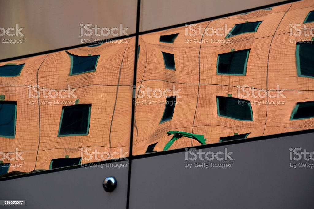 Building architecture reflections, Hong Kong stock photo