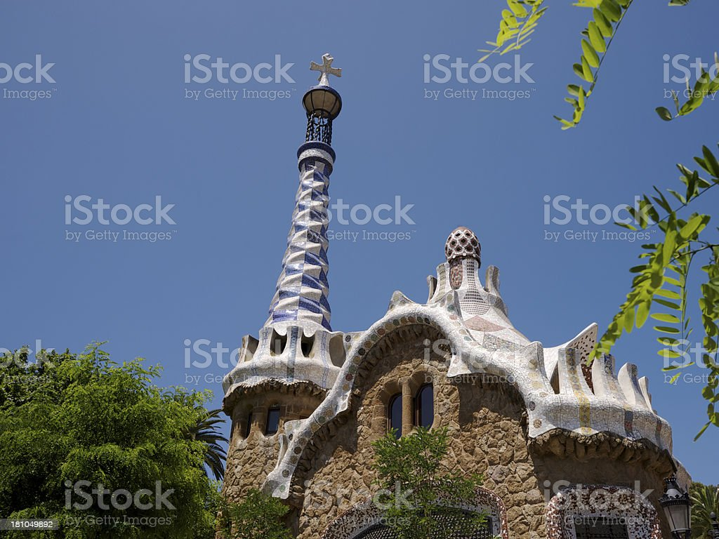 Building at entrance to Park Guell in Barcelona, Spain royalty-free stock photo