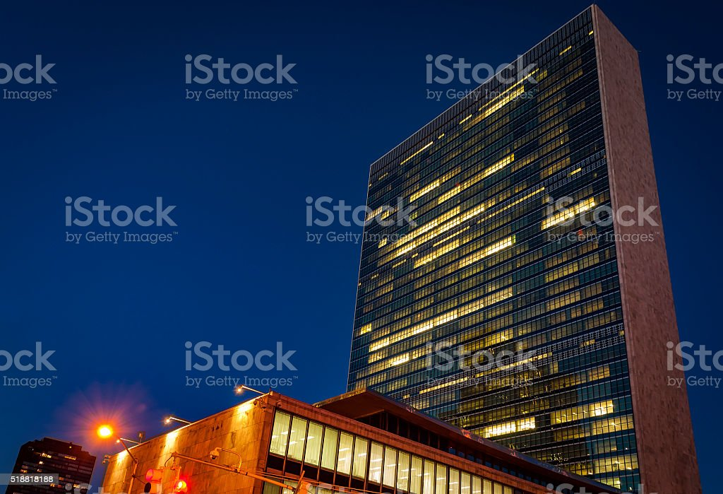 UN building at night in NYC stock photo