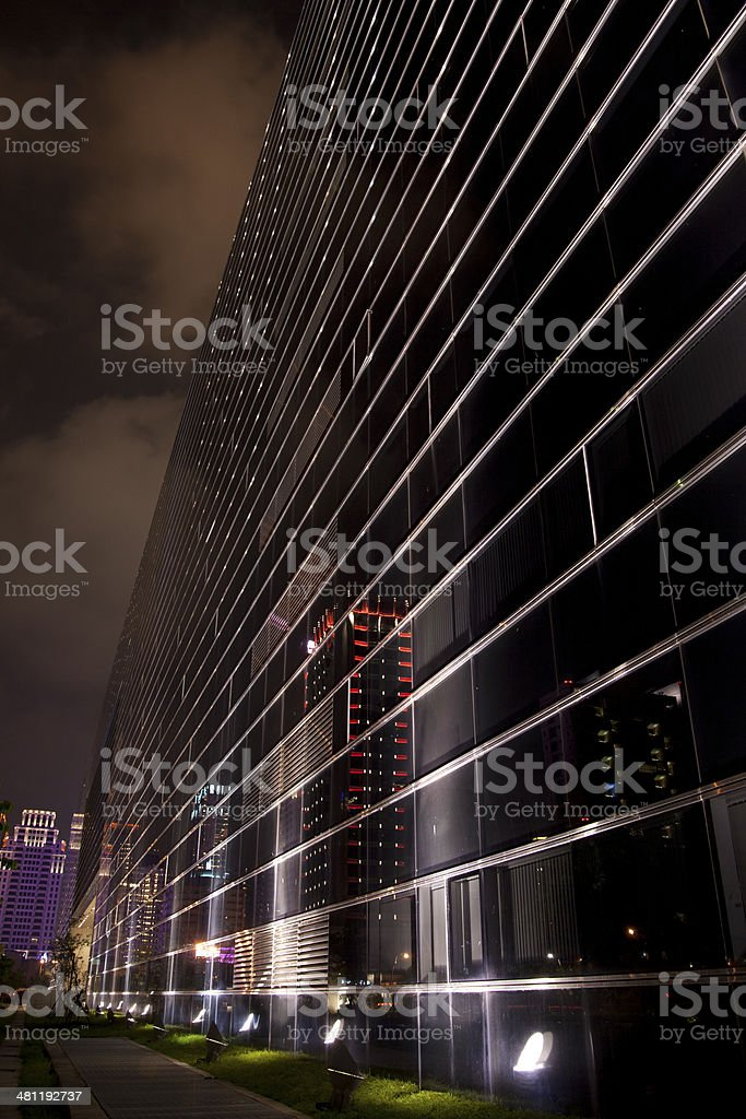 Building at night stock photo