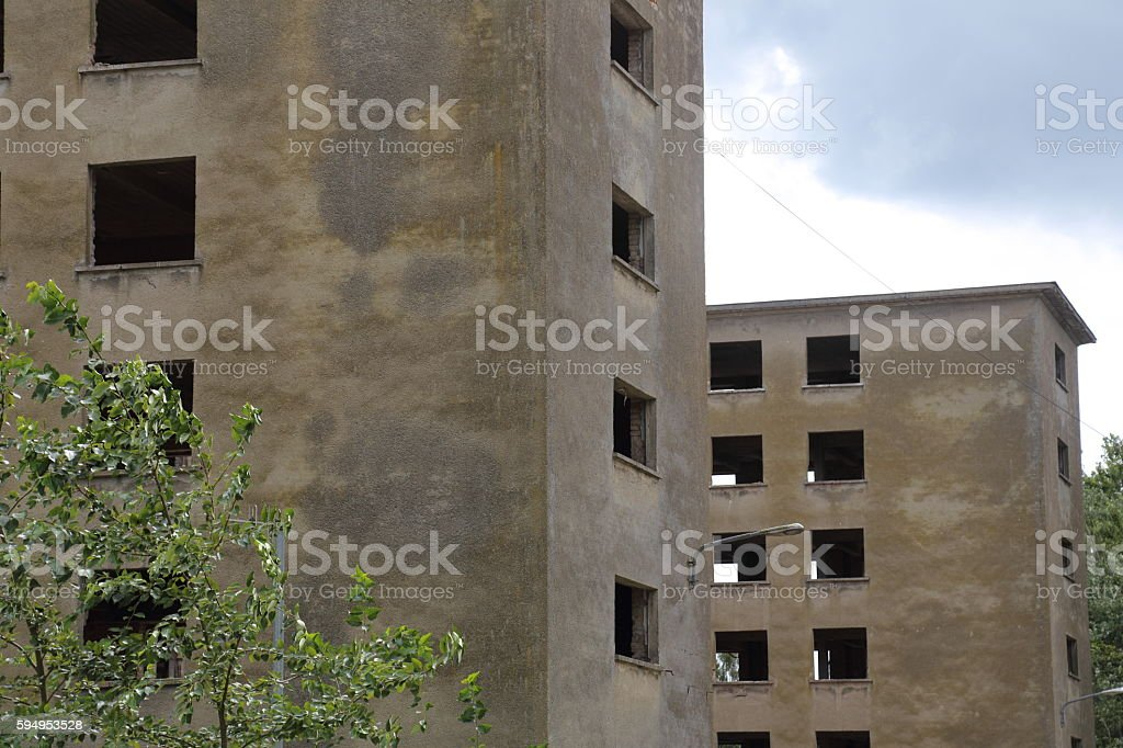 Building at Prora beach resort stock photo