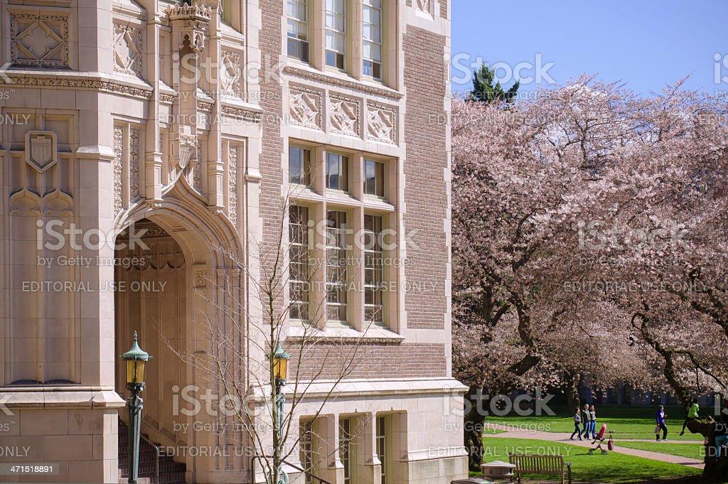 Building at quadrangle on University of Washington campus in Seattle royalty-free stock photo