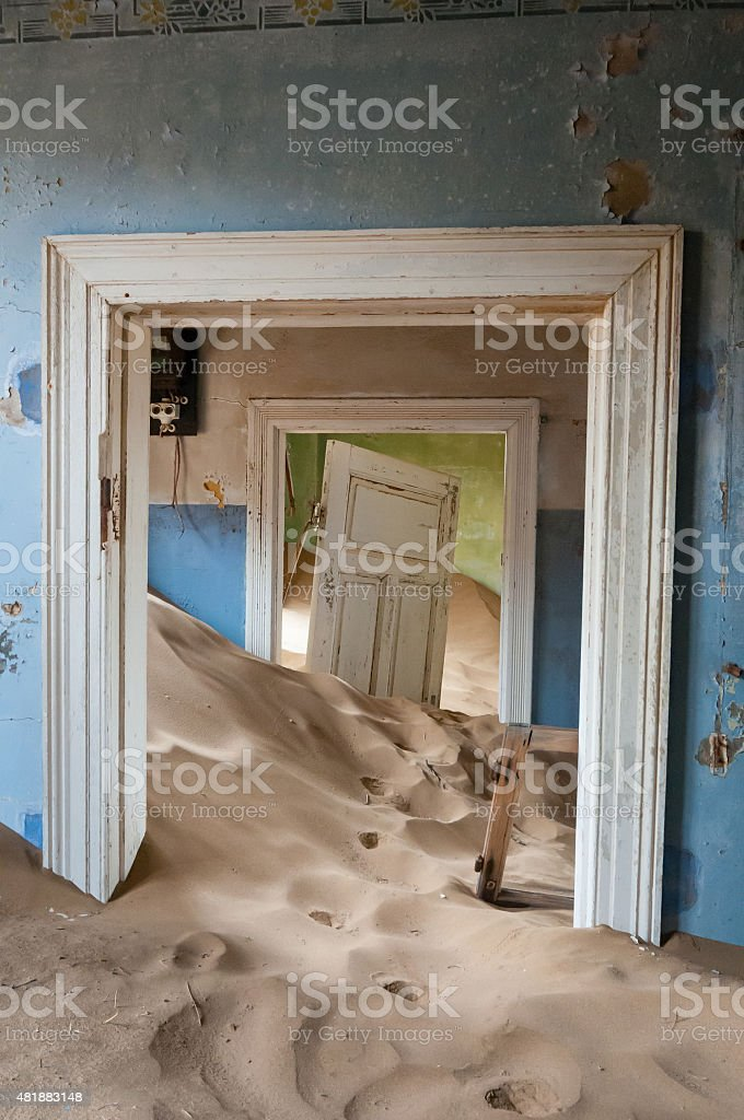 Building at the ghost town of Kolmanskop stock photo