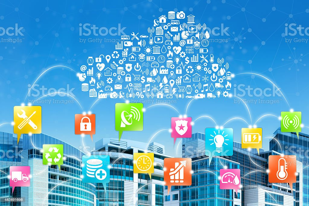 Building automation, Internet of Things connected by cloud computing services stock photo
