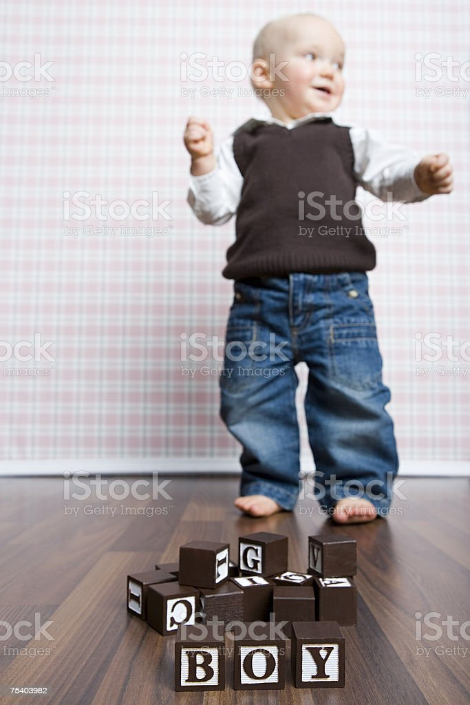 Building blocks and baby boy stock photo
