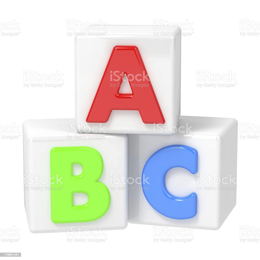 ABC Building Blocks on White Background. royalty-free stock photo