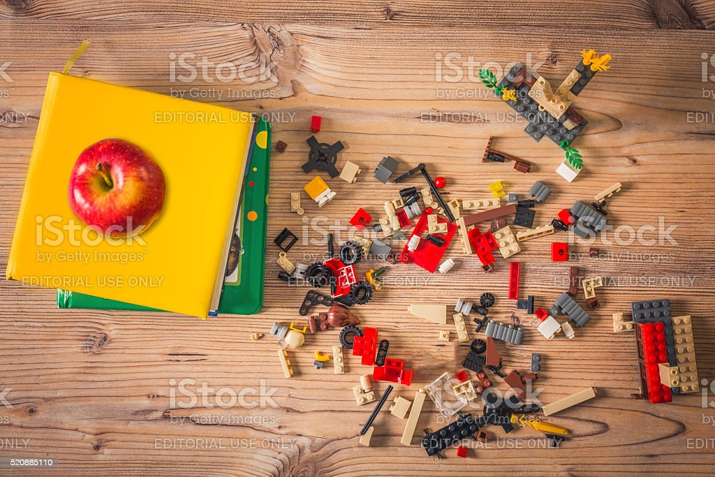 building blocks,lego and book stock photo