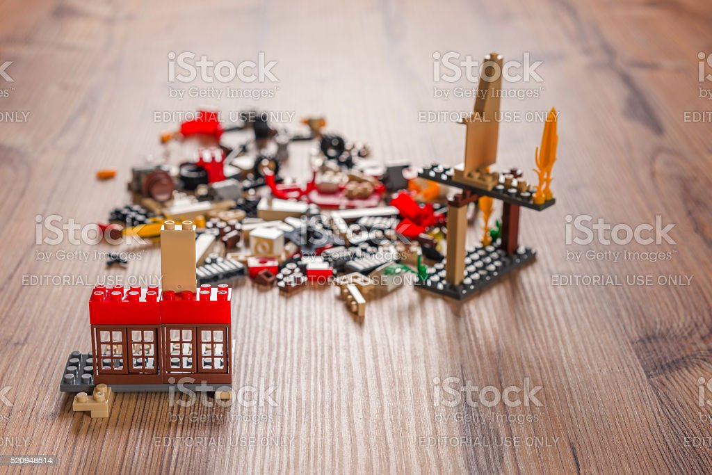 building blocks,lego on the wood table stock photo