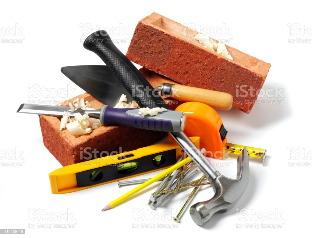 Building Bricks and Work Tools royalty-free stock photo