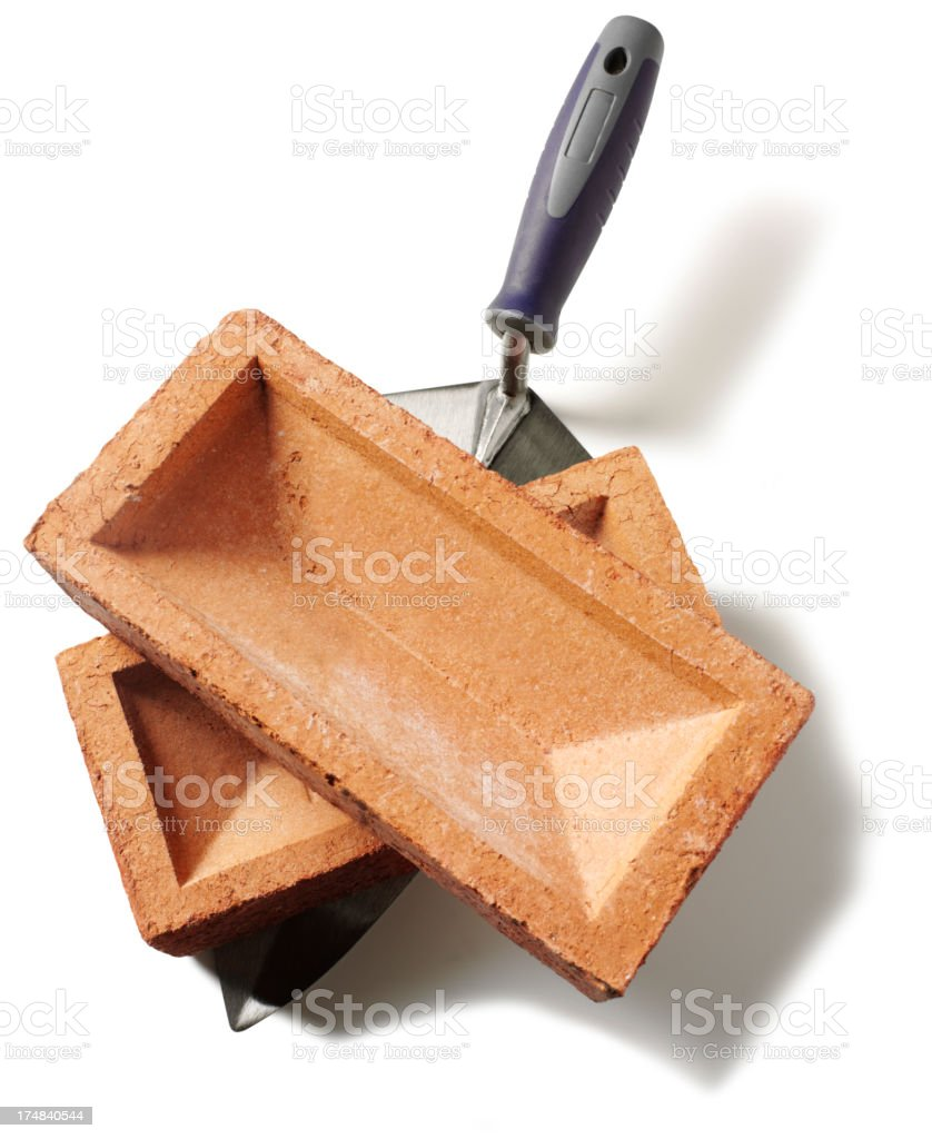 Building Bricks with a Trowel royalty-free stock photo
