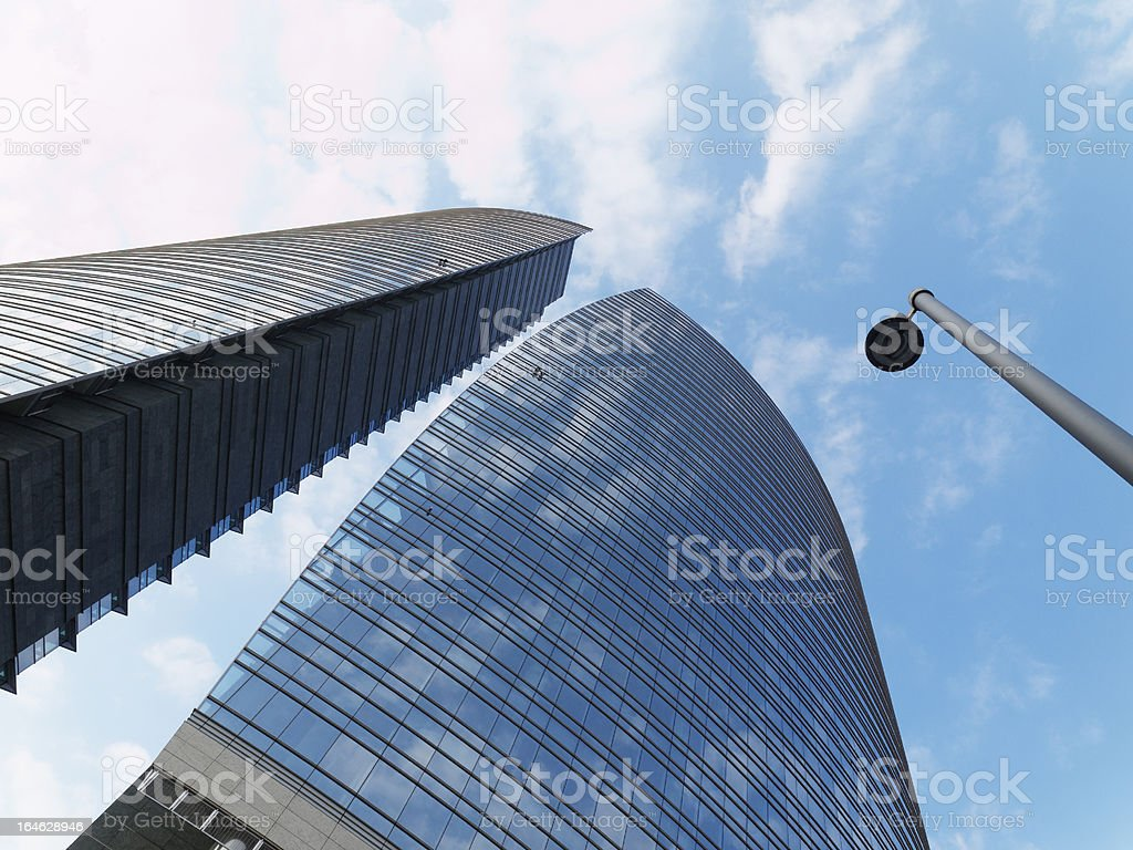 building business skyscraper reflexes mirrors clouds royalty-free stock photo