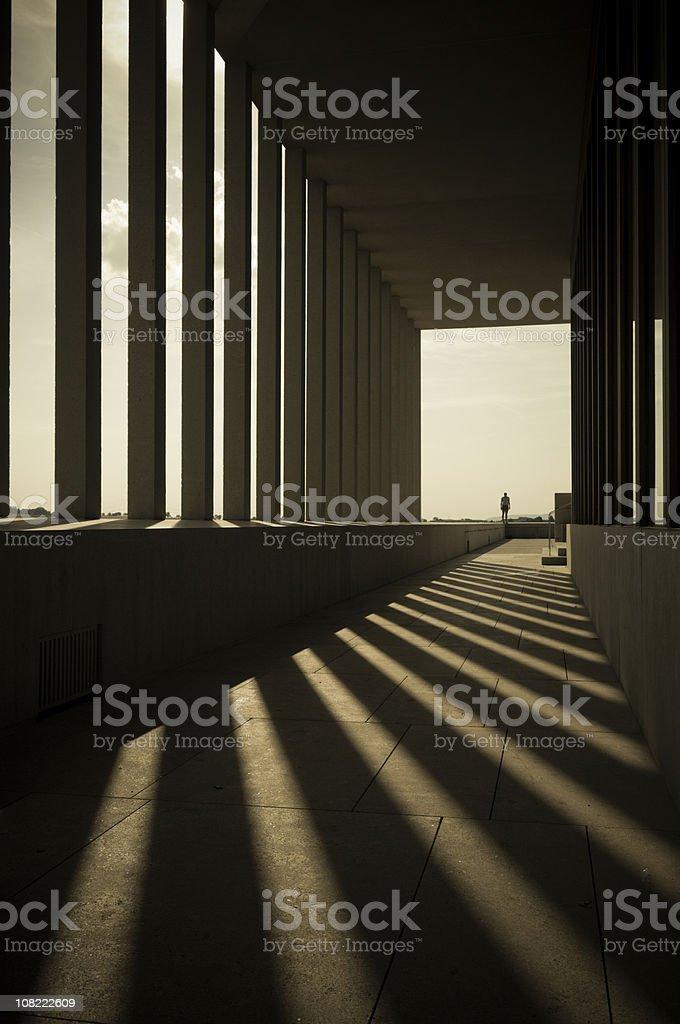 Building Columns Shadows in Hallway stock photo