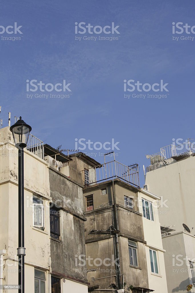 Building Composition - Aged Blocks Lighted royalty-free stock photo