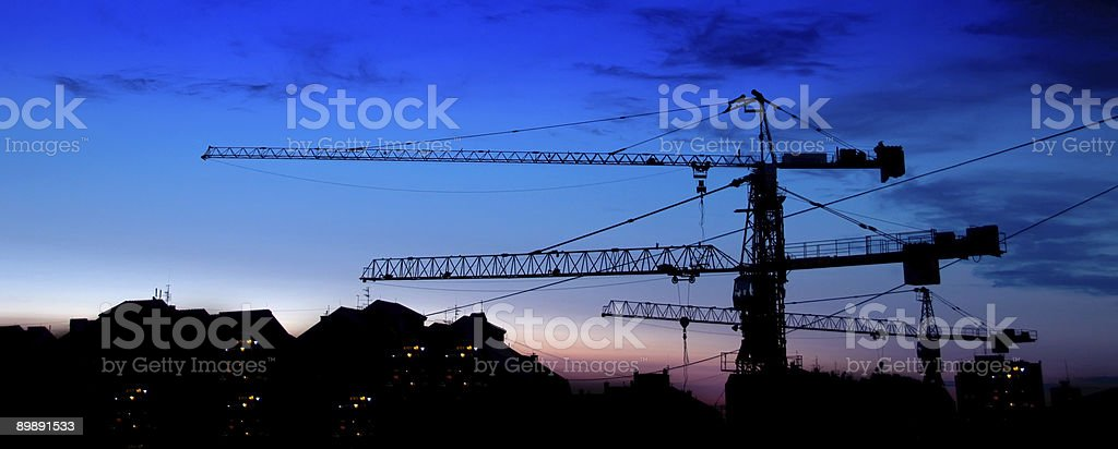 Building construction- background of red sunset sky royalty-free stock photo