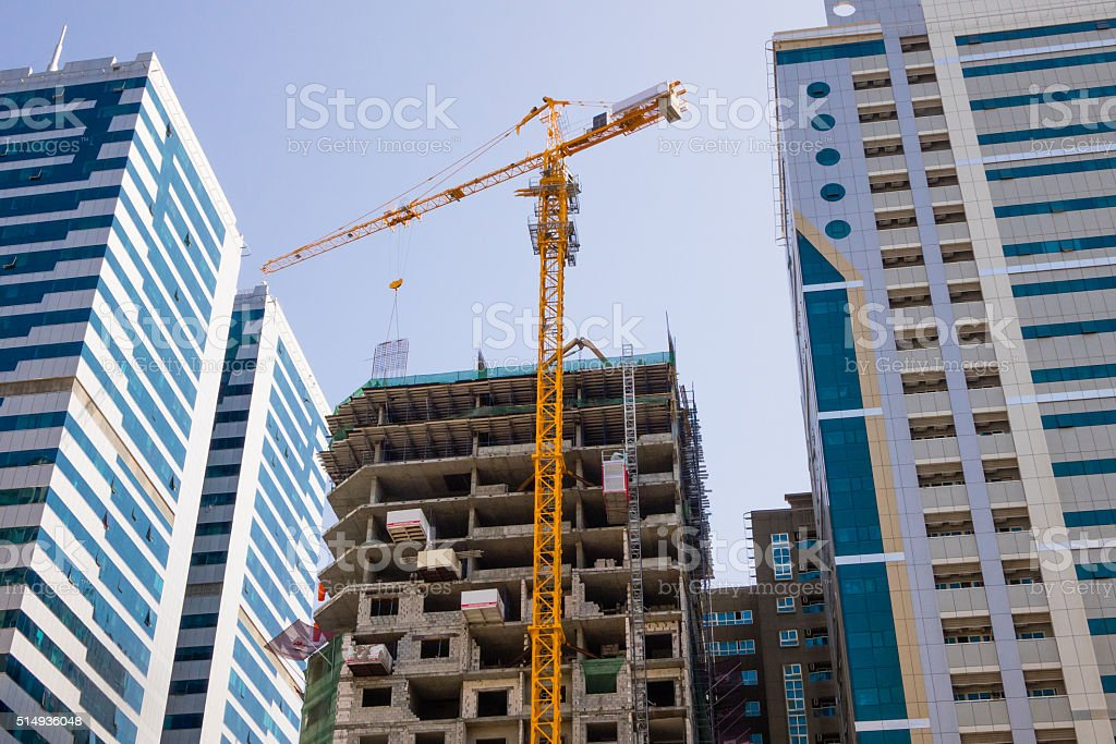 Building construction in the city between the two buildings. stock photo