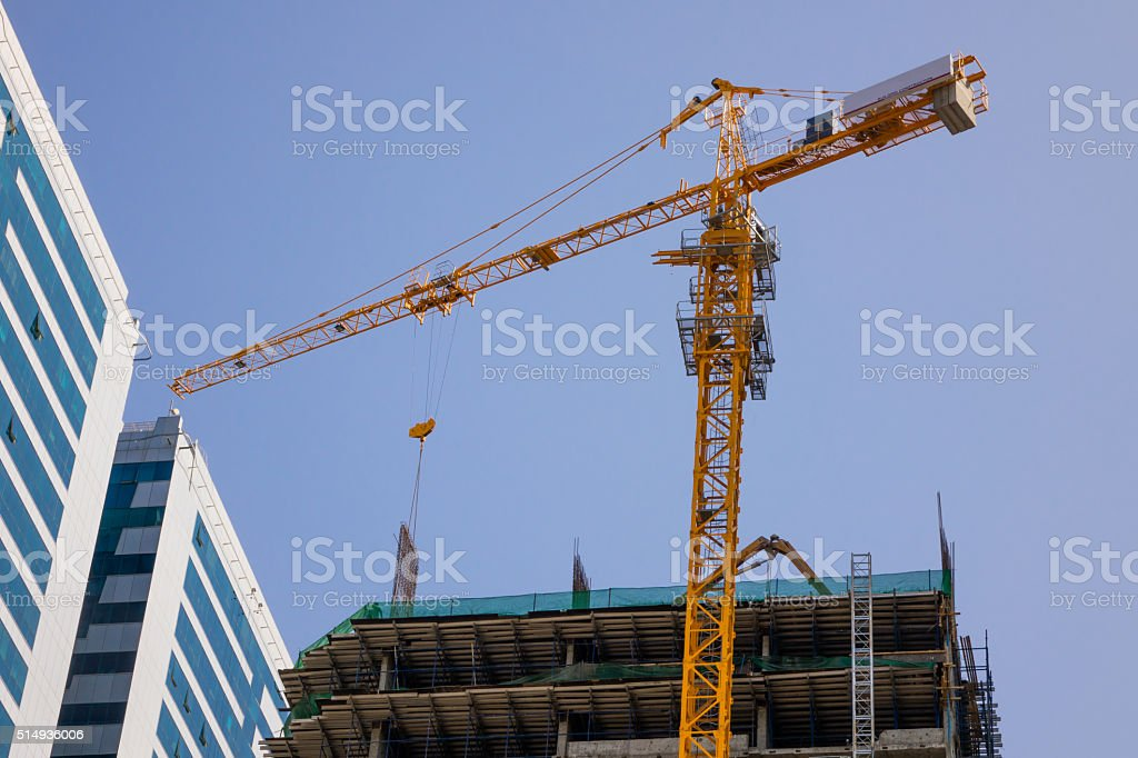 Building construction in the city near the building. stock photo