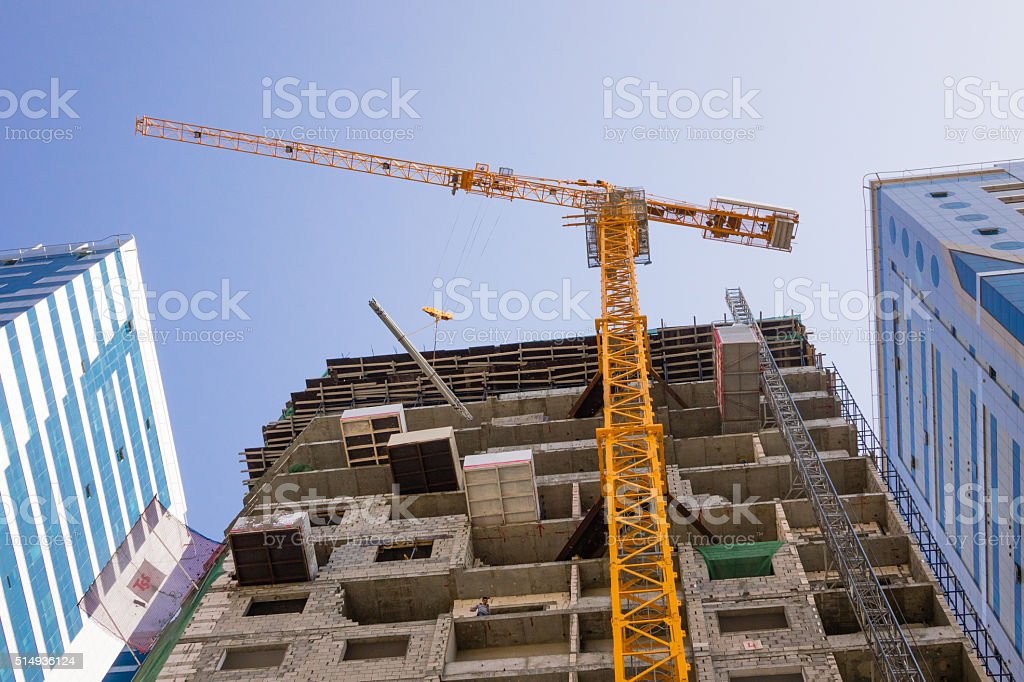Building construction in the city. stock photo