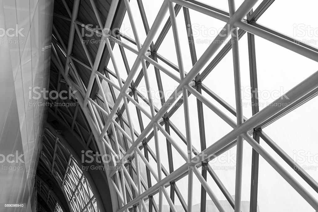 building construction of metal steel framework outdoors, black a stock photo