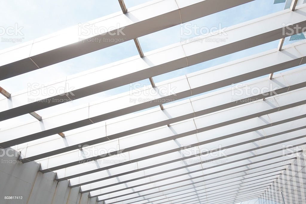 building construction of metal steel framework outdoors stock photo