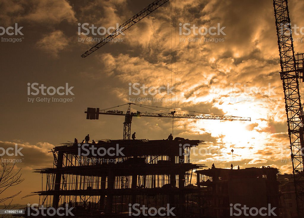 Building Construction Silhouethe stock photo