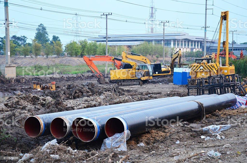Building construction Site at Ayutthaya Thailand stock photo
