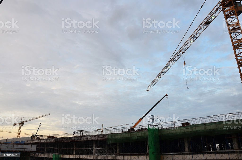 Building construction Site at evening time stock photo