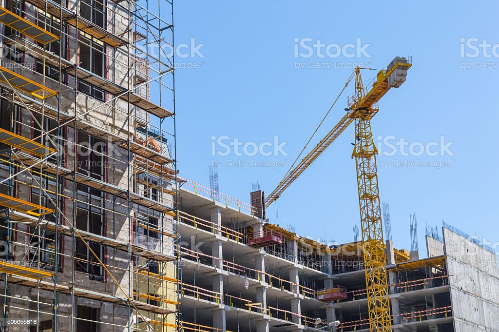 Building construction with crane stock photo