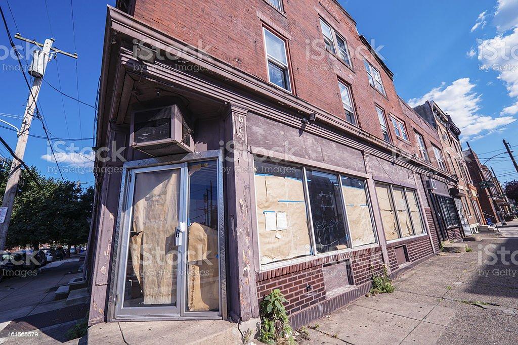 Building Corner Empty Retail Business Space in Philadelphia USA stock photo