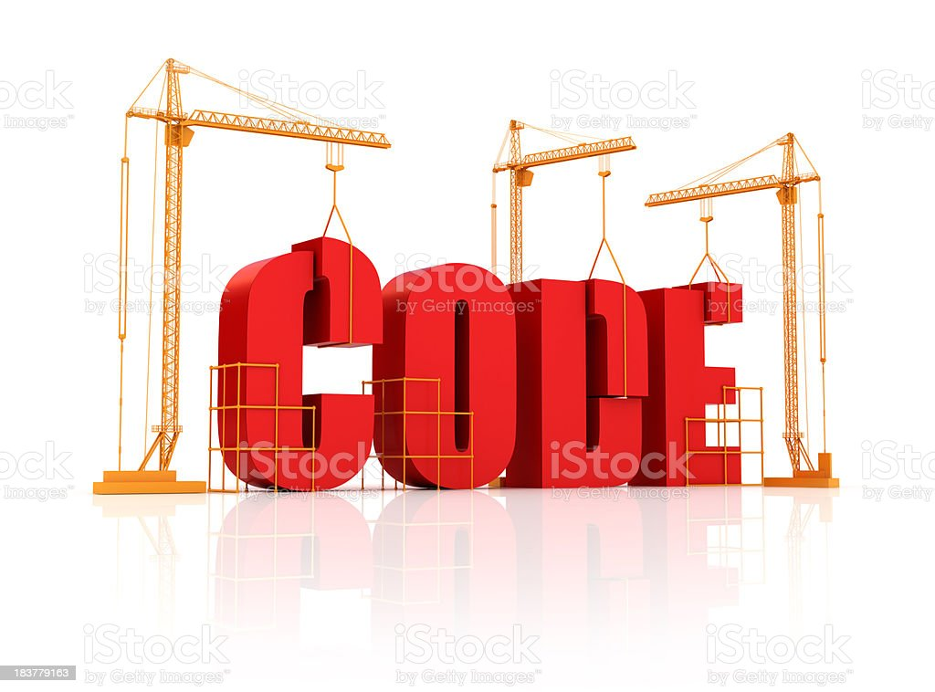 Building & Creating the Code stock photo