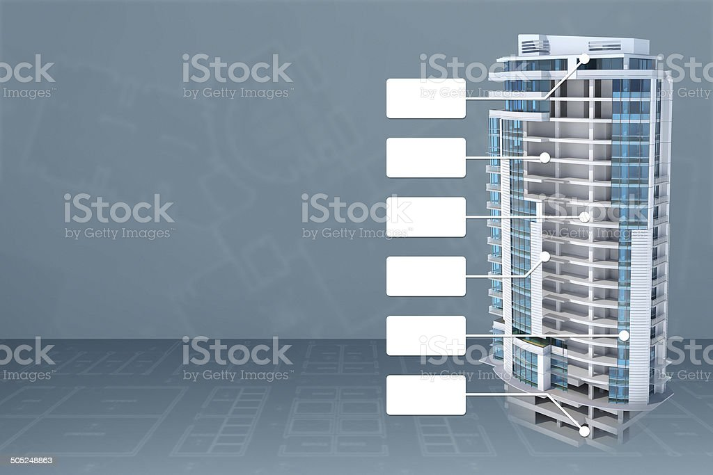 Building cross-section with structure and blank labels stock photo