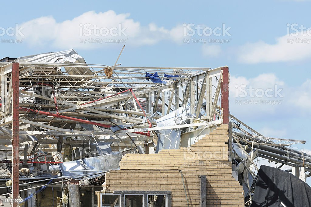 Building damaged by tornado royalty-free stock photo
