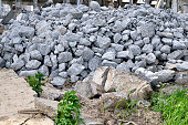 Building debris - the broken stones of the destroyed building