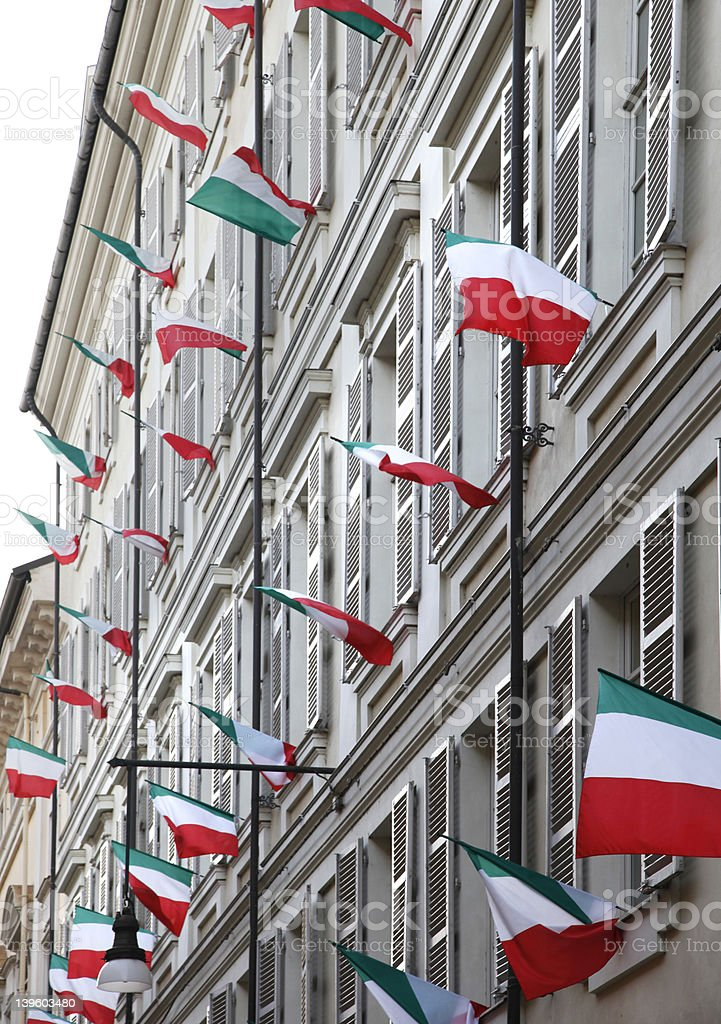 Building decorated with Italian flags royalty-free stock photo