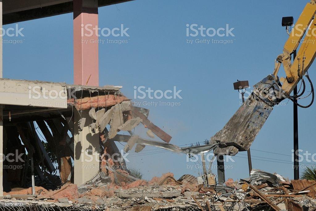 Building demolition in progress stock photo