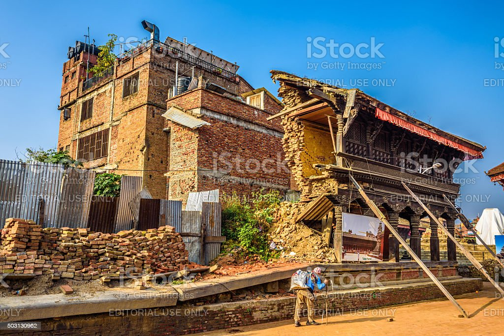 Building destroyed by earthquake in Nepal stock photo