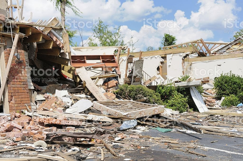 Building destroyed by tornado royalty-free stock photo