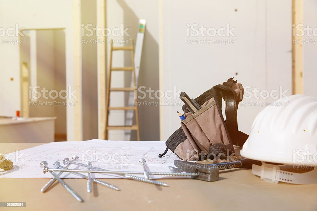 Building equipment, hardware and building plan stock photo