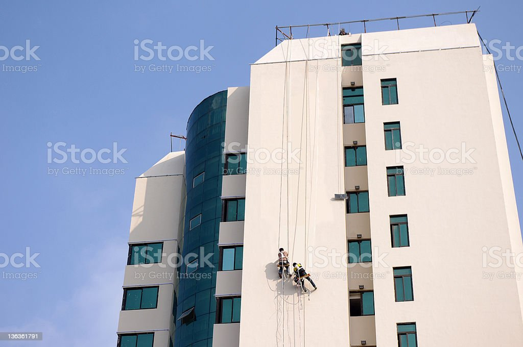 Building exterior cleaning royalty-free stock photo