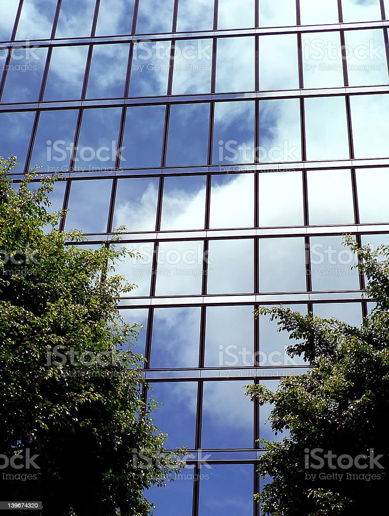 Building exteriors - Downtown Honolulu - Reflection royalty-free stock photo