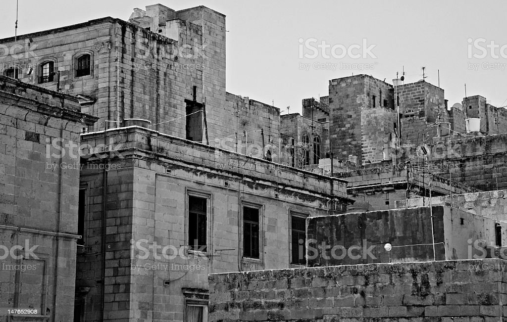 Building exteriors in Malta in black and white stock photo