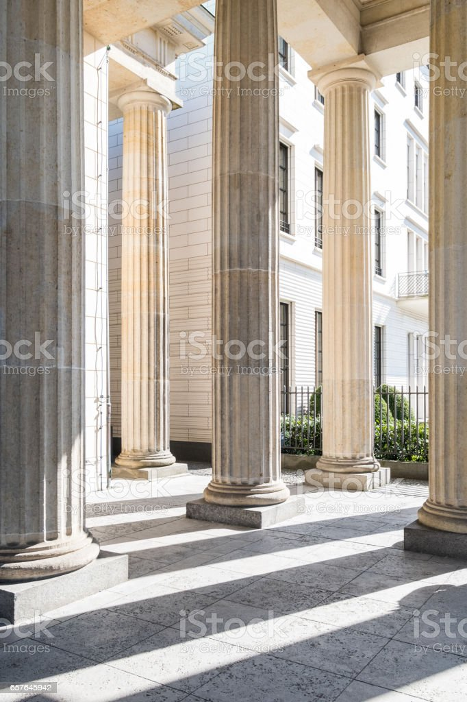 building facade historic columns stock photo