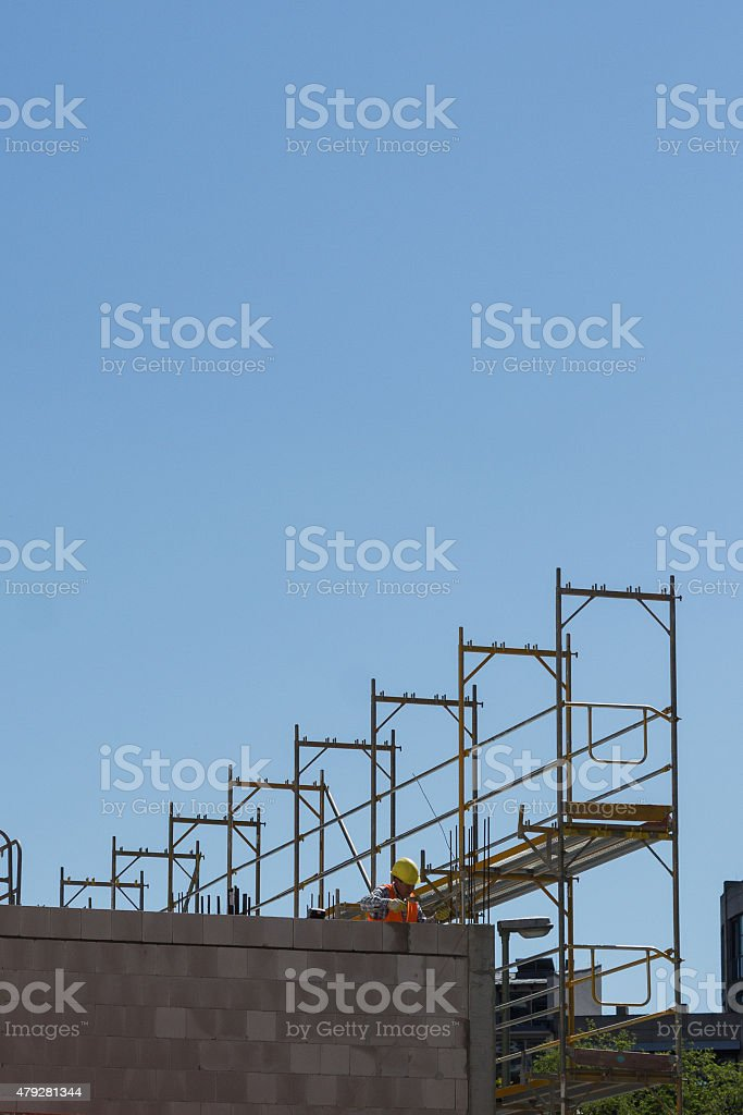 building facade with scaffolding - construction site stock photo