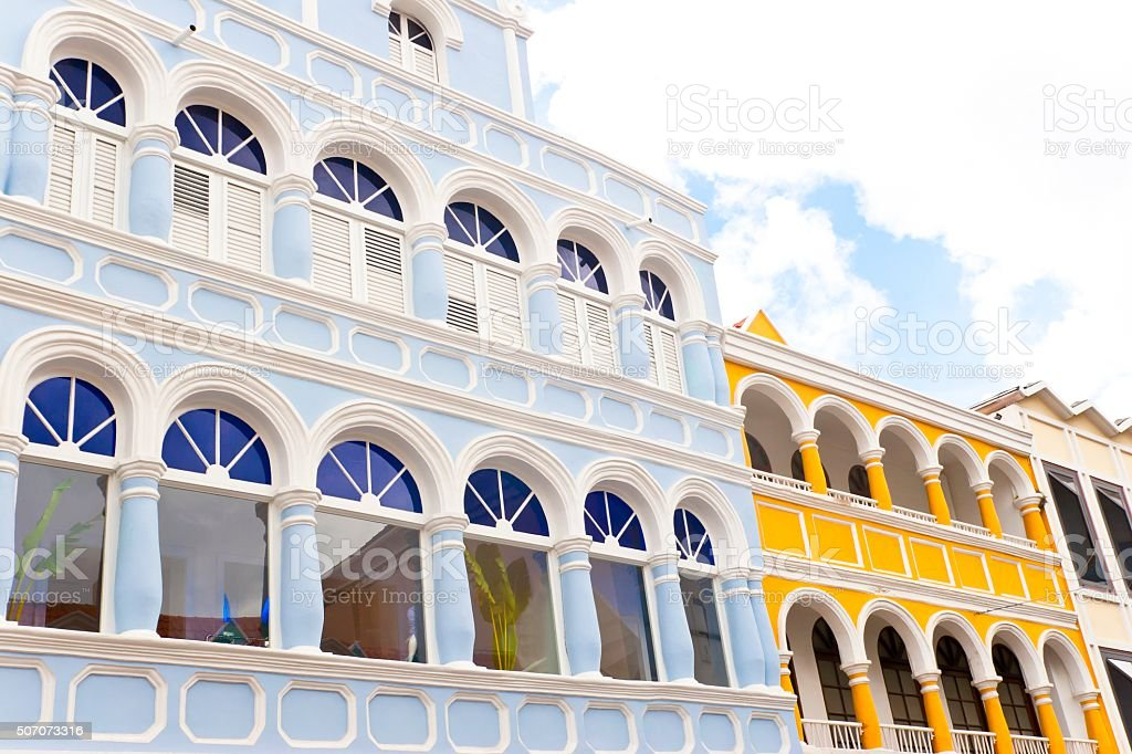 Building Facades in Colonial Style stock photo