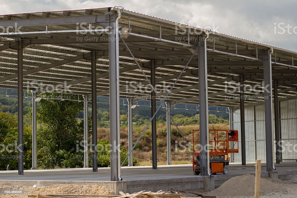 Building factory construction. stock photo