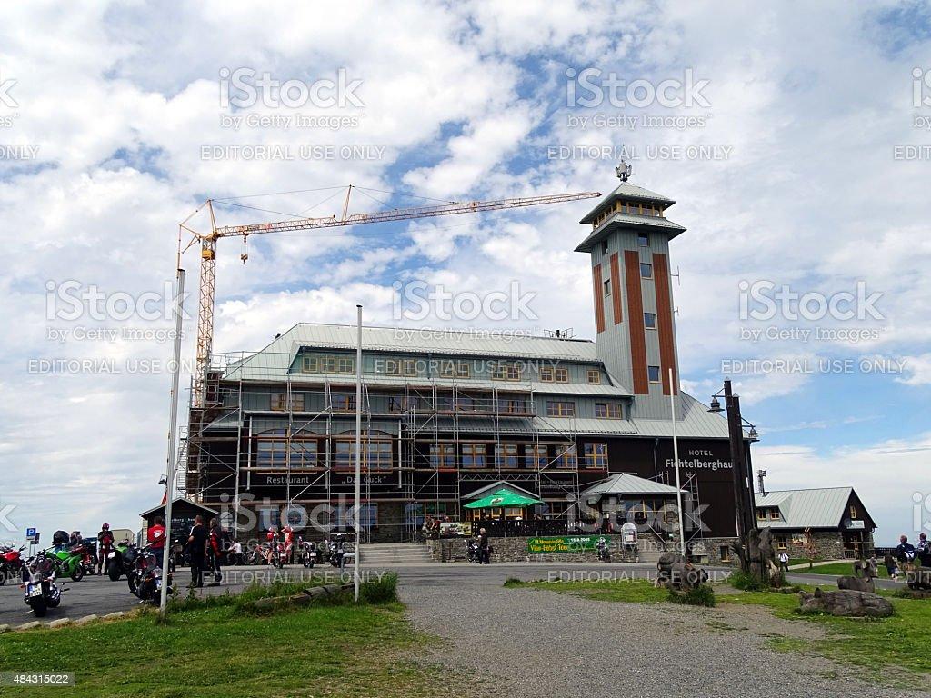 Building Fichtelberghaus in Oberwiesenthal stock photo