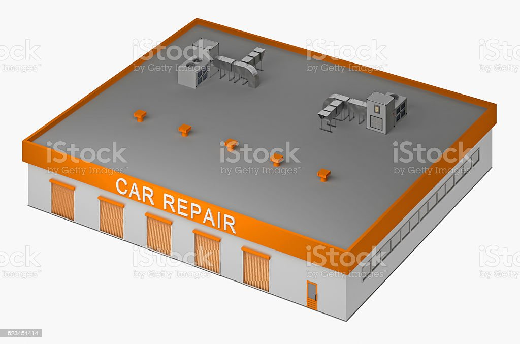building for the repair of cars 3d rendering stock photo