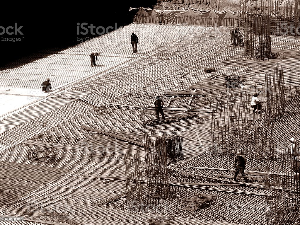 building foundation in construction site royalty-free stock photo