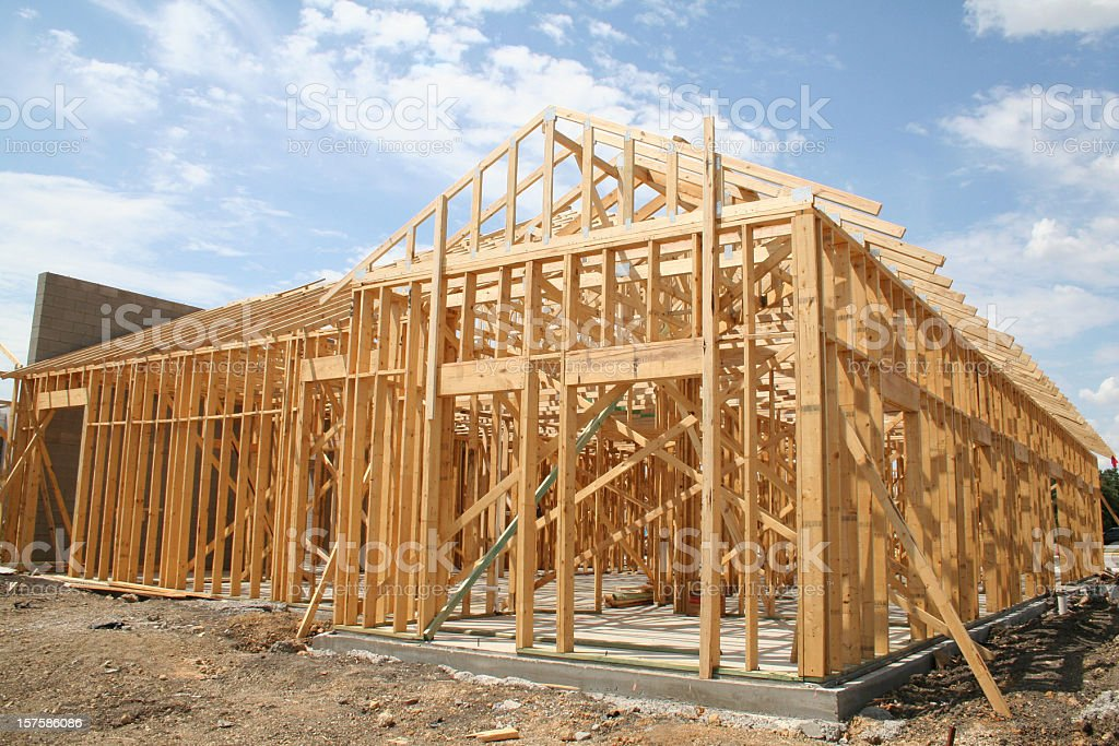 Building Frame at Construction Site stock photo