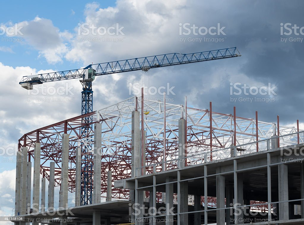 Building framework and tower crane stock photo