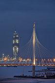 Building Gazprom Tower, erect Skyscraper Lakhta Center, St. Petersburg, Russia.